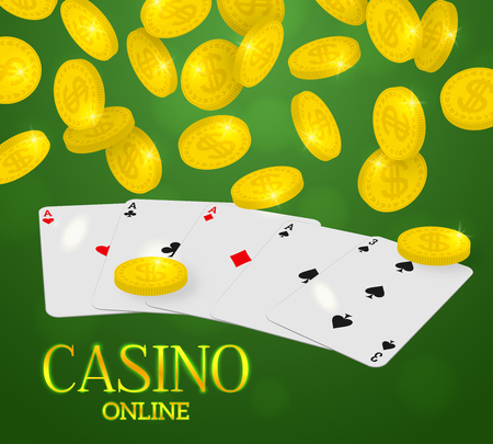 Online casino web banner. Four aces poker hand and falling coins rain on a green background. Vector illustration.