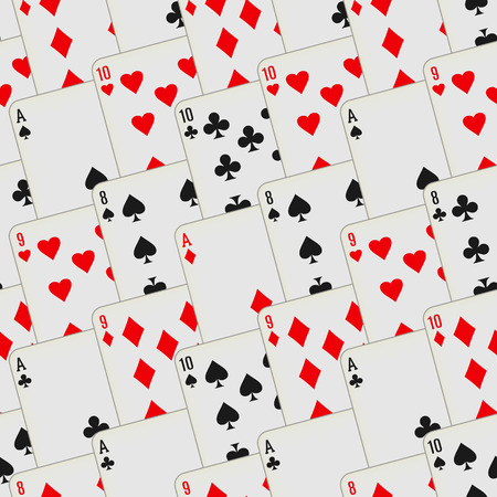 Playing cards seamless pattern. Card deck repeated background. Vector illustration. Illustration