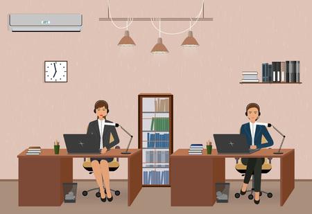 Centro de llamadas y oficina de servicio al cliente con mujeres empleadas. El lugar de trabajo y los operadores de la línea de ayuda con auriculares. Ilustración vectorial