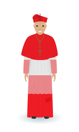 Pope or cardinal character in characteristic clothes isolated on a white background. Supreme catholic priest in cassock. Religion people concept. Vector illustration. Illustration