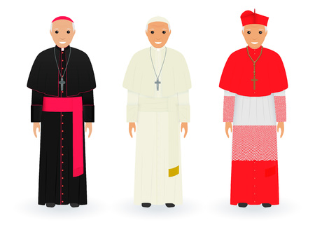 Pope, cardinal and bishop characters in characteristic clothes standing together. Supreme catholic priests in cassocks. Religion people concept. Vector illustration.