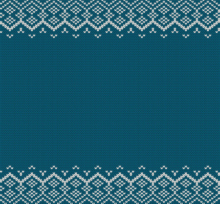 Knitted holiday geometric ornament with empty space for text. Christmas seamless pattern. Knit blue color sweater texture. Vector illustration. Illustration