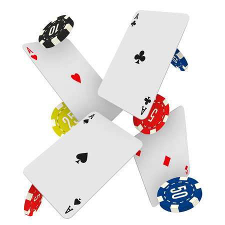 Casino chips and aces falling on a white background. Vector gambling fond with flying playing cards and gaing coins.