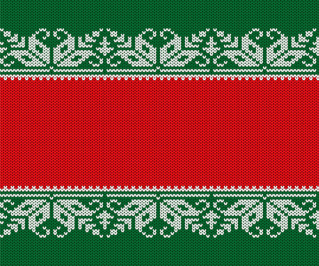 Knitted christmas red and green background. Seamless geometric knit ornament. Xmas winter sweater texture design with empty place to your text. Vector illustration.