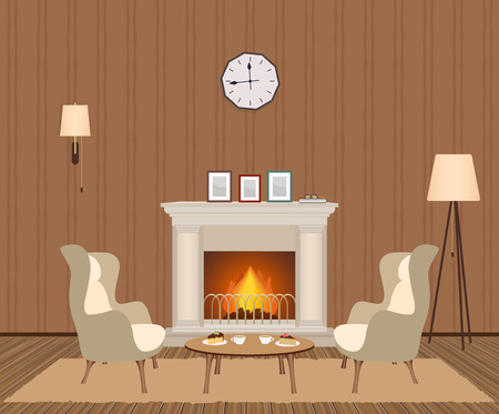 Cozy living room interior with fireplace, armchairs, clock, lamps and photoframes. Domestic room design at evening with burning fire in furnace. Vector illustration.