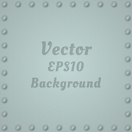 Metallic background of steel textured plate with rivets and text. Stainless plaque on a iron vector background. Illustration