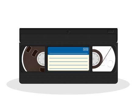 Retro video cassette with blue and white sticker isolated on a white background. Vintage style movie storage icon. Old record video recorder tape. Vector illustration.