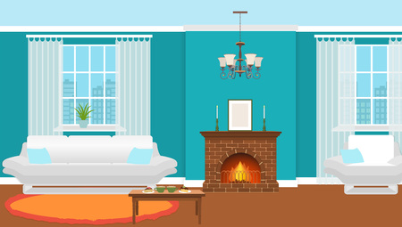 Living room interior with fireplace, furniture and windows. Domestic room design with burning fire in furnace, hot drinks and desserts on a table. Vector illustration. 矢量图像