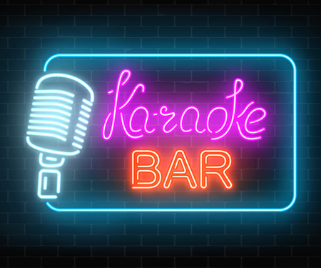 Neon signboard of karaoke music bar. Glowing street sign of a nightclub with live music. Sound cafe icon. Rock show poster. Vector illustration.