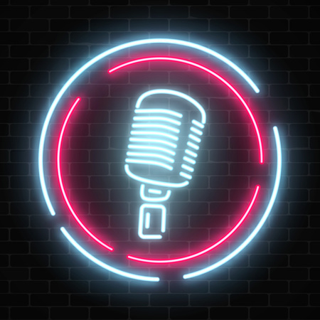 Neonowy szyld z mikrofonem w okrągłej ramce. Klub nocny z ikoną muzyki na żywo. Świecący znak ulicy baru z karaoke i śpiewakami na żywo. Ikona kawiarni dźwięku. Plakat pokazu rockowego. Ilustracji wektorowych. Ilustracje wektorowe