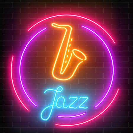 Neon jazz cafe with saxophone glowing sign with round frame on a dark brick wall background. Glowing street signboard of bar with karaoke and blues singers. Vector illustration. Vectores