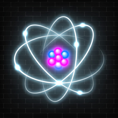 Shining neon planetary model of nuclear atom. Abstract molecule glowing design. Vector illustration. Vectores