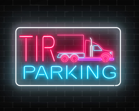 Neon glowing TIR parking sign on a brick wall background. Vettoriali