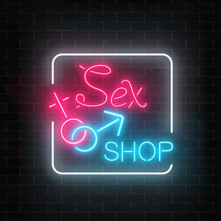 Segnale stradale al neon d'ardore del sexshop sul fondo scuro del muro di mattoni. Banner notte negozio per adulti. Giocattoli sessuali per persone adulte. Illustrazione vettoriale Archivio Fotografico - 93847179