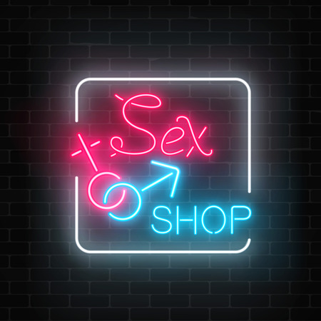Glowing neon sex shop street sign on dark brick wall background. Adult store night banner. Sex toys for adults people. Vector illustration.