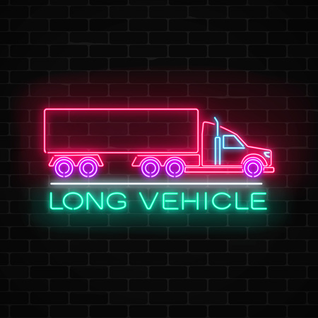 Neon glowing long vehicle sign on a brick wall background. Glow signboard of a freight truck. Vector illustration. Vettoriali