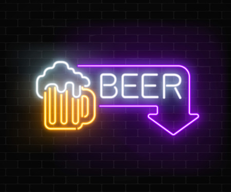 Glowing neon beer pub signboard in rectangle frame with arrow on dark brick wall background. Luminous advertising sign of nightclub with bar. Vector illustration.