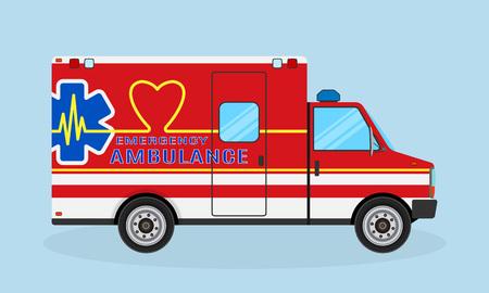 Ambulance car side view. Emergency medical service vehicle with heart shape, cardio pulse and medic sign. Medics transportation service. Illustration