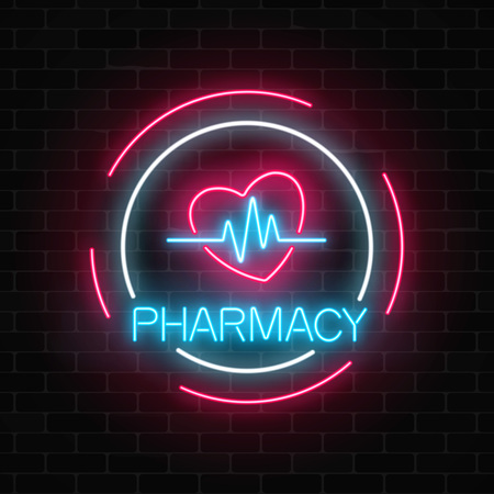 Neon pharmacy glowing signboard with heart shape and pulse graph on brick wall background.