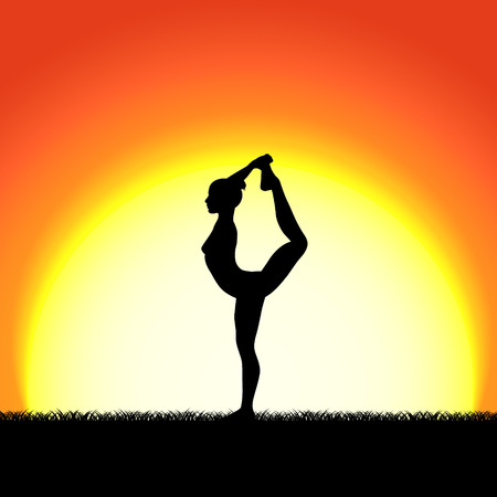 Yoga dhanurasana pose black silhouette on sunset background. Woman character meditating in nature during sunrise, dawn. Vector illustration. Illustration