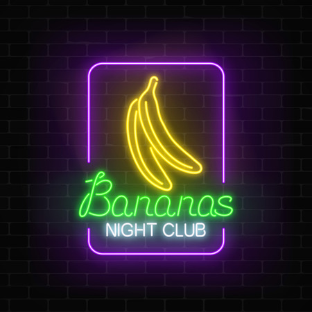 Glowing neon nightclub signboard with bananas in rectangle frame on dark brick wall background. Illustration