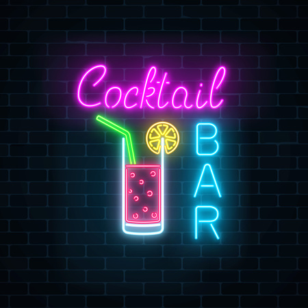 Glowing neon cocktails bar signboard on dark brick wall background. Luminous advertising sign of night club with bar. Glow gas advertising with glass of cocktail. Vector illustration. Stock Illustratie