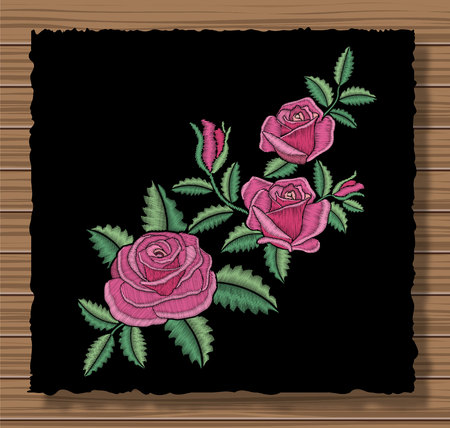 Floral stitched ornament with stitch flowers and sprigs. Embroidery roses and leaves on a dark flap cloth and wooden texture background. Ornamental needlework. Vector illustration.