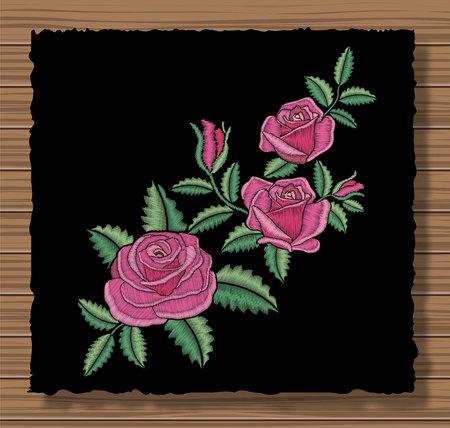 Kwiatowy szyty ornament z ściegiem kwiatowym i gałązkami. Haftowane róże i liście na ciemnej klapie tkaniny i drewniane tekstury tła. Ozdobne robótki ręczne. Ilustracja wektorowa.