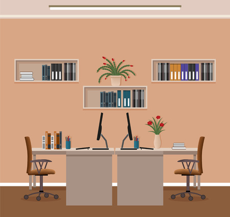 Office room interior with two workspaces and furniture. Workplace organization in business office. Flat style vector illustration. Vectores