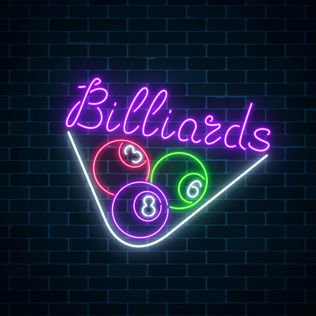 Glowing neon signboard of bar with billiards on brick wall background. Night advertising symbol of taproom with pool game. Billiard balls in triangle frame. Vector illustration.