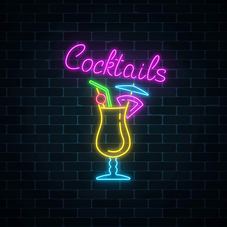 Glow neon sign of cocktails bar on dark brick wall background. Glowing gas advertising with pina colada alcohol shake. Drinking canteen banner. Night club invitation. Vector illustration.