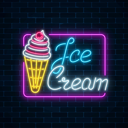 Glowing neon sign of ice cream with cherry on dark brick wall background. Fruit ice-cream in waffle cone. City neon advertising street sign. Vector illustration. Vettoriali