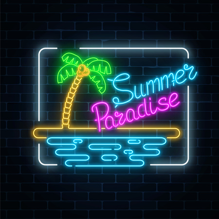 Glowing neon summer paradise sign with palm, beach and ocean in rectangle frame on dark brick wall background. Shiny summertime vacation symbol. Vector illustration. Illustration