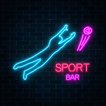 Glowing neon signboard of sport bar on a dark brick wall background. Soccer neon sign with player catching a ball vector illustration.  イラスト・ベクター素材
