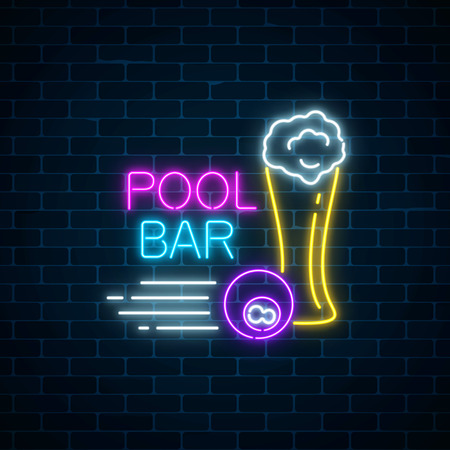 Glowing neon sign of bar with pool including glass of beer and billiard ball. Signboard of pub with billiard table. Vector illustration on dark brick wall background.