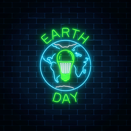 Glowing neon sign of world earth day with globe symbol and green led light bulb inside on dark brick wall background. Earth day neon banner. Vector illustration. Illustration