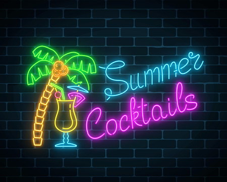 Neon summer cocktail bar sign on dark brick wall background. Glowing gas advertising with pina colada alcohol shake and palm. Drinking canteen banner. Night club invitation. Vector illustration.