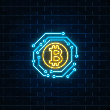Neon bitcoin currency sign with electronic circuit. Cryptocurrency emblem on dark brick wall background. Vector illustration.