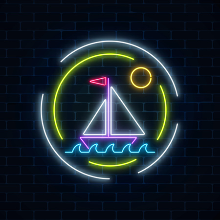 Glowing neon summer sign with sailing ship in ocean in round frames on dark brick wall background. Shiny summertime symbol. Vector illustration. Vectores