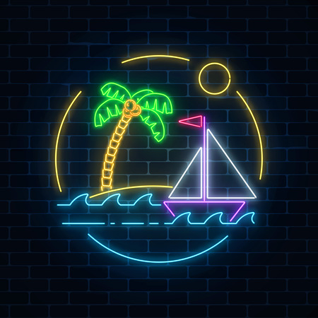 Glowing neon summer sign with sailing ship and island with palm in ocean in round frames on dark brick wall background. Shiny summertime symbol. Vector illustration.