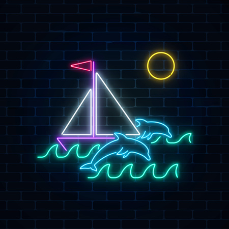 Glowing neon summer sign with sailing ship and dolphins in ocean 일러스트