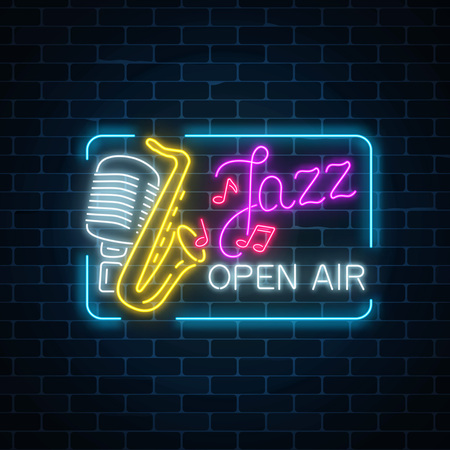 Neon jazz festival banner with retro microphone, saxophone and lettering in rectangle frame on dark brick wall background. Jazz music open air flyer. Vector illustration. 스톡 콘텐츠 - 99416733