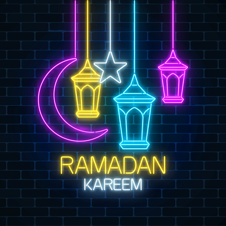 Glowing neon ramadan holy month sign on dark brick wall background. Ramadan greeting card with greeting text, fanus lanterns, star and crescent. Vector illustration.
