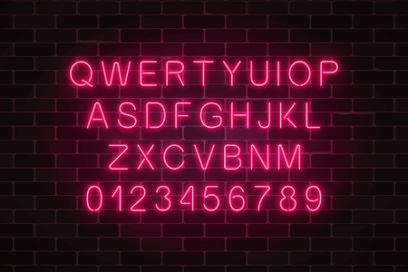 Glowing neon alphabet font on dark brick wall background. Vector neon style letters. You can made your words with it.