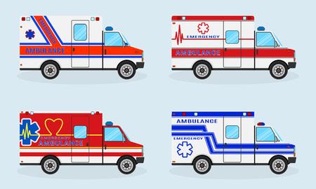 Set of four emergency ambulance cars. Ambulance car side view. Emergency medical service vehicle. Medicine paramedic transportation. Hospital transport. Flat style vector illustration.