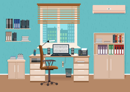 Office room interior with workspace. Workplace organization in business office. Working cabinet design with furniture and access to the corridor. Flat style vector illustration. Vettoriali