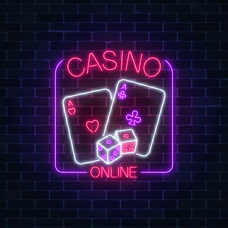 Glowing neon sign of online casino application in rectangle frame on dark brick wall background. Casino bright signboard. Internet gambling banner. Vector illustration.