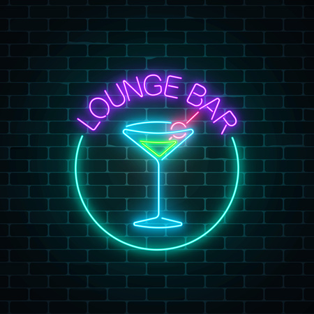 Neon lounge cocktails bar sign on dark brick wall background. Glowing gas advertising with glasses of alcohol shake. Drinking canteen banner. Night club invitation. Vector illustration.