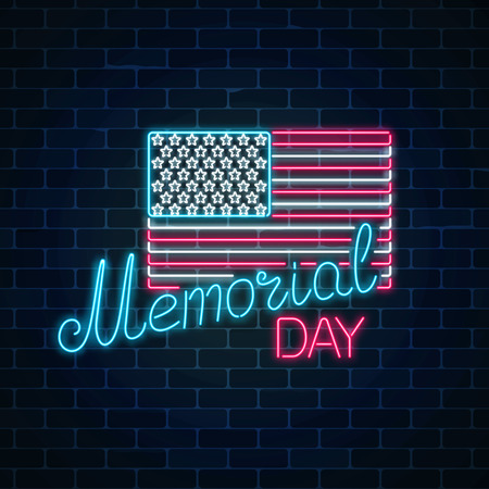 National united states holiday greeting card in neon style. Happy memorial day glowing neon sign with usa flag and text on dark brick wall background. Vector illustration.