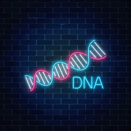 Dna sequence sign in neon style on dark brick wall background. DNA molecule structure glowing symbol. Vector illustration.